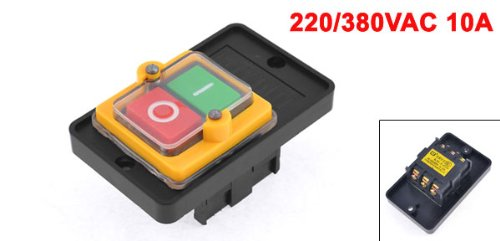 uxcell 220//380VAC 10 Amp 6 Screw Terminal Latching I//O Pushbutton Switch
