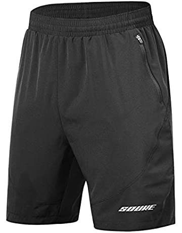 a305bcdce Souke Sports Men's Workout Running Shorts Quick Dry Athletic Performance  Shorts Black Liner Zip Pockets