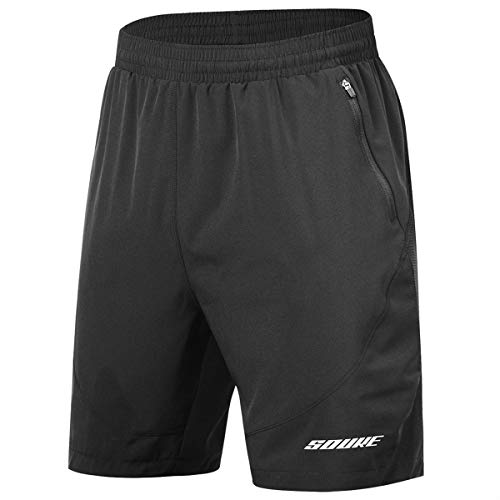 - Souke Sports Men's Workout Running Shorts Quick Dry Athletic Performance Shorts Black Liner Zip Pockets