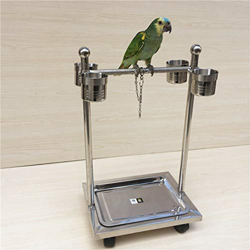 Agordo Parrot Stainless Steel Perch Stand Cage Bird Living Climbing Frame