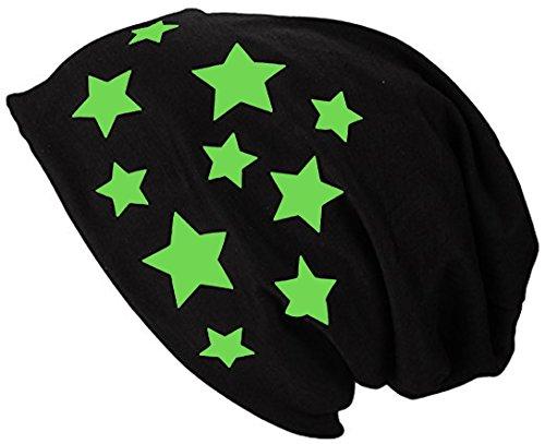 2Store24 Gorro Jersey Largo Beanie con Estrellas Primavera verano Mujer y Hombre Apple Green
