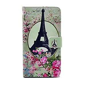 Eiffel Tower Rose Pattern PU Leather Case with Stand Card Money Holder for Samsung Galaxy Note3 N9000