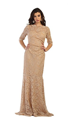 2a4ded118e0 May Queen MQ1452 3 4 Sleeve Modern Mother of The Bride Dress (5XL