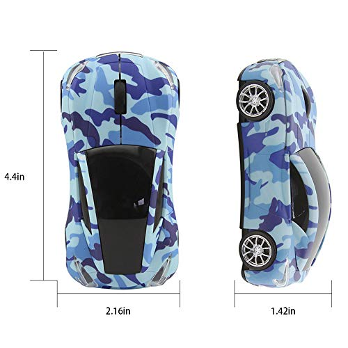 Usbkingdom 2.4GHz Wireless Mouse Sport Car Shape Mobile Optical Gaming Mouse with USB Receiver 1600DPI 3 Buttons for PC Laptop Computer (Navy Blue)