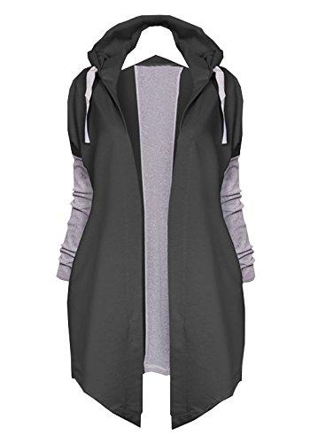 Abrigo Tops Casual Cárdigan Moda Jacket Sudaderas con de Outwear Mujeres Capa Largo Chaqueta Otoño Parka Negro Capucha Primavera wxqaa0H