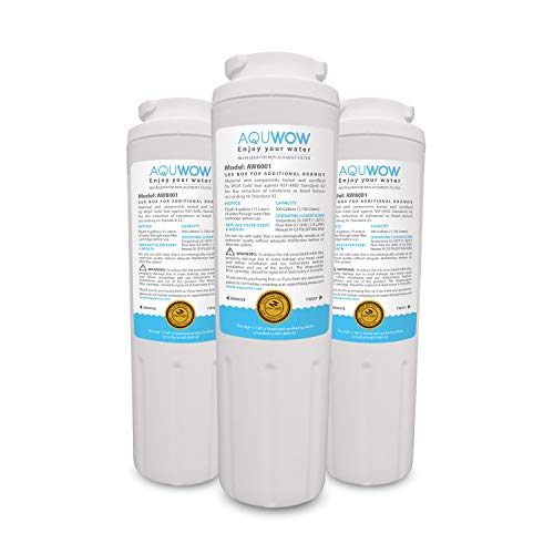 AQUWOW Refrigerator Water Filter Replacements 3-Pack for Maytag UKF8001, Whirlpool 4396395, EveryDrop EDR4RXD1, Pur Filter 4, and Kenmore 46-9005 - NSF Certified Clean, Purified Drinking Water