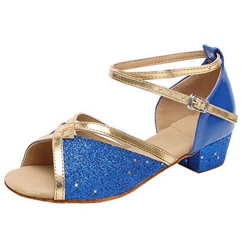Leisuraly Women Tango Ballroom Latin Salsa Waltz Dance Girl Party Formal Shoes Brillante Glitter Heeled Blue