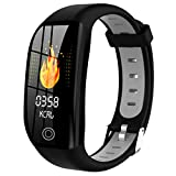 Nesee Fitness Tracker, Bluetooth 4.0 Heart Rate Monitor Bracelet, IP68 Waterproof, Touch Screen, Smart Wristband, Pedometer Sports Activity Tracker Smart Watch for Android and iOS Smartphone (Black)