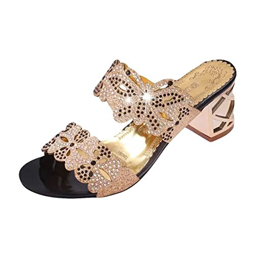 ZOMUSAR Sandals Slippers, Women Fashion Sandals Flip Flop Rhinestone Wedges Crystal High Heels Shoes (US:7.5, Gold ❤️) ()