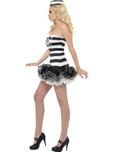 Convict Costume Uk (Fever Women's Convict Cutie Costume)