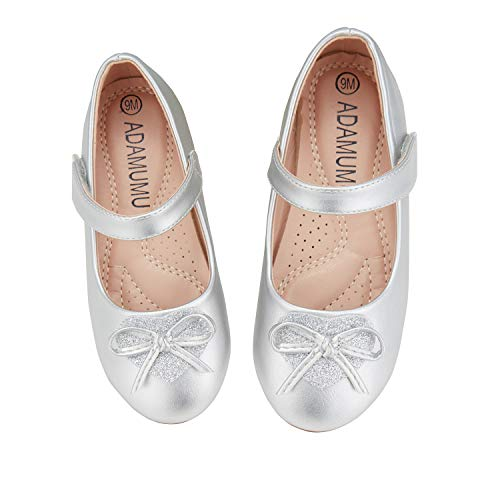 ADAMUMU Toddler Dress Shoes Ballerina Flat Mary Jane Shoes for Girls Glitter Shoes for Princess Wedding Party Uniform School Daily Wear,13M US Little Kid,Silver