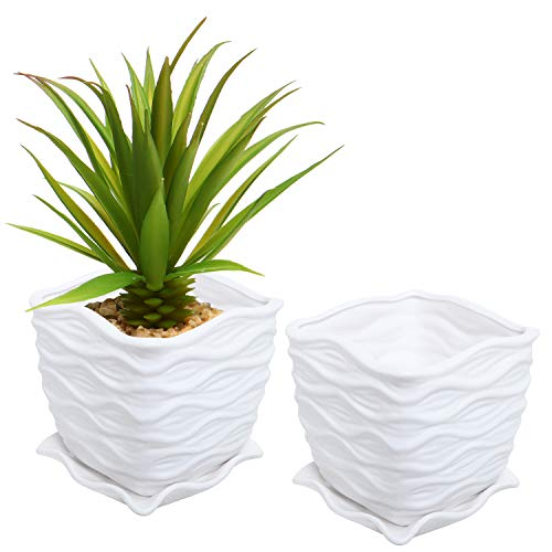 White Ceramic Wave Textured Design Flower Planting Pot/Succelent Planter with Attached Saucer
