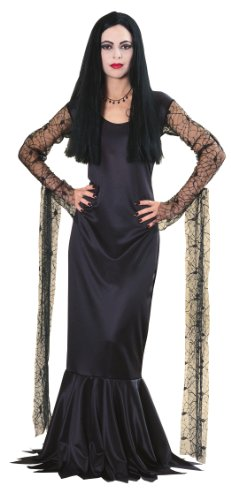 Rubie's Women's The Addams Family Morticia Costume, Black, Large (Black Dress Halloween Costumes)