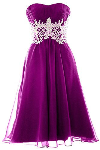 MACloth Women Customized Strapless Short Lace Prom Dress Formal Party Ball Gown Fuchsia
