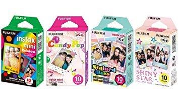Fujifilm InstaX Mini Instant Film Rainbow & Staind Glass & Candy Pop & Shiny Star Film -10 Sheets X 4 Assort Value Set by Fujifilm