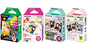 Fujifilm InstaX Mini Instant Film Rainbow & Staind Glass & Candy Pop & Shiny Star Film -10 Sheets X 4 Assort Value Set -