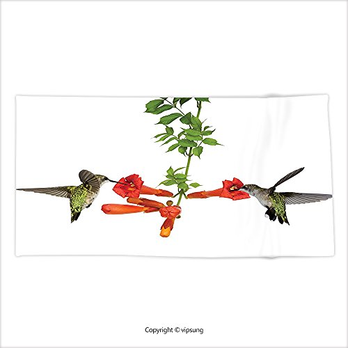 Vipsung Microfiber Ultra Soft Hand Towel Hummingbirds Decorations Two Hummingbirds Sip Nectar From A Trumpet Vine Blossoms Summertime Decor For Hotel Spa Beach Pool - Surfboards Nectar