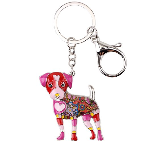 Bonsny Enamel Alloy Jack Russell Dog Key Chains For Women Gifts Car Purse Handbag Charms Jewelry -