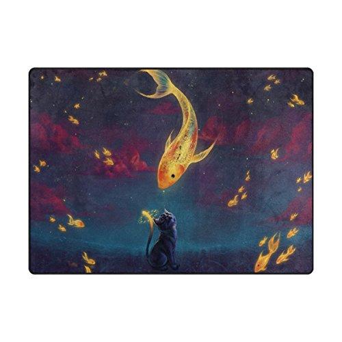 imobaby Jennifer Clock Golden Fish Cat Non-skid Indoor Area Rug Doormats Soft Floor Mat Outdoor 63 x 48 (Jennifer Clock)