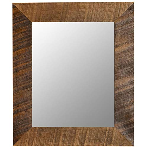 Wood Framed Mirror - Wall Mounted Natural Wooden Frame Mirror - Rectangle -
