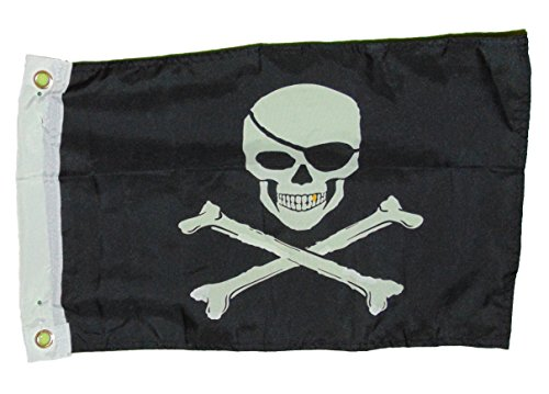 (Pirate Jolly Roger Gold Tooth Skull and Cross Bones Flag Polyester 12 X 18 Inches Boat Motorcycle Fort)