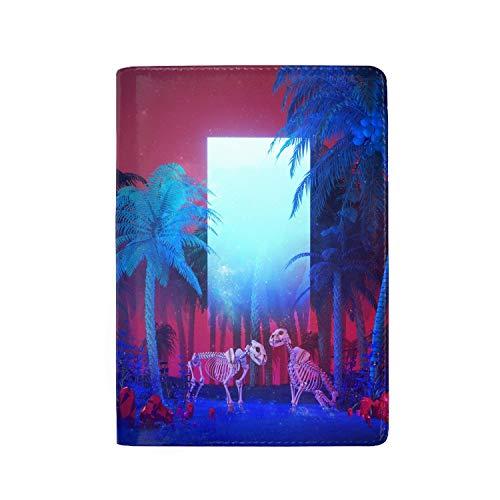 Leather Passport Cover - Holder - for Men & Women - Beeple Render Landscape Monolith Neon Trees Passport Case (Monolith Card Case)