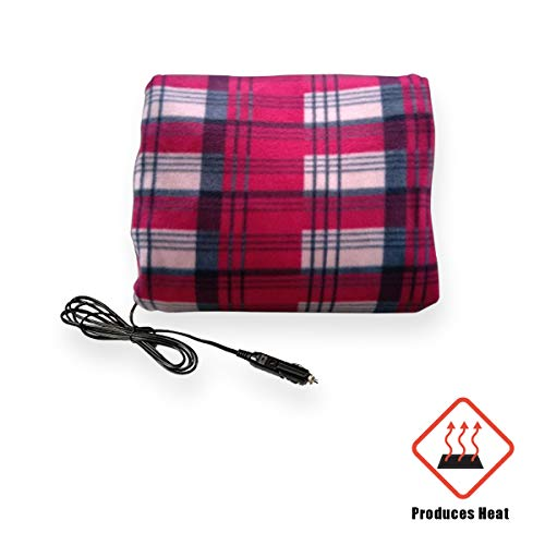 VaygWay 12V Car Heated Blanket- Electric Fleece Travel Blanket Throw- Auto Plaid Road Trip RV- Soft Polar Fleece Cold Weather- Vehicle Home Cozy Unisex Blanket
