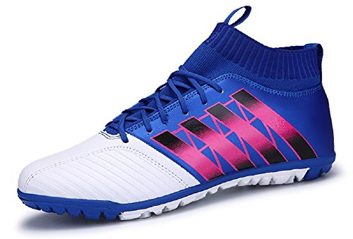 JIYE Men Soccer Shoes for Women Breathable Lightweight Turf Football Shoe Fashion Training Sneakers,Blue,37EU=5.5US-Men/6US-Women (Outdoor Shoes Turf Soccer)