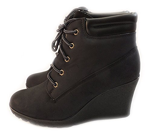 NEW WOMEN FASHION PLATFORM WEDGE ANKLE BOOTS MILITARY COMBAT STYLE SHOES/BLACK CHERRY-3 (7.5)