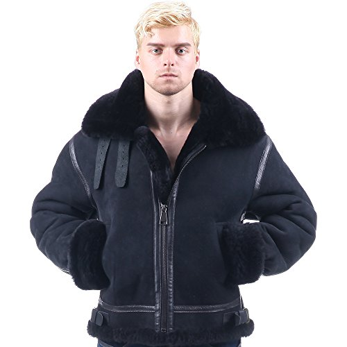 Mens Bomber Pilot Costume (B3shearling Jacket air Bomber Fur Vintage military pilot boy men genuine b-3 (46, black))