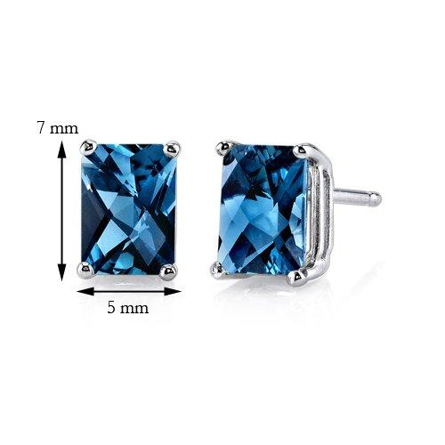 Revoni 14ct or blanc 585/1000 Radiant Coupe 2.25 Carats Londres topaze bleue Boucles d'oreilles clous Femme