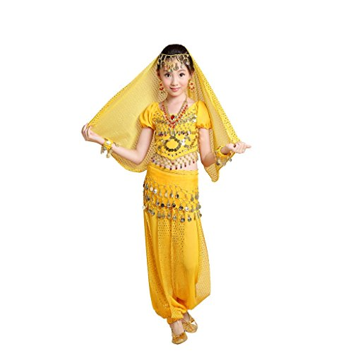Pilot-trade Kid 3-Piece Indian Dance Dress Set Halloween Belly Dance Costumes Yellow