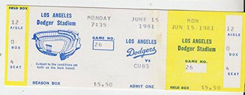 (1981 CHICAGO CUBS @ LOS ANGELES DODGERS FULL TICKET STRIKE GAME WORLD CHAMPIONS)