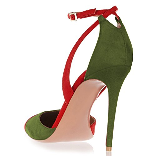Sandals green Patchwork Heel US Pumps Shoes Buckle 15 4 Toe Women Size Pointed Strap Red Dress Ankle High FSJ 8qUIpfU