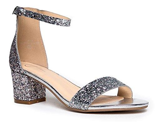 Daisy Mid Heel Sandal, Silver Glitter, 7.5 B(M) US