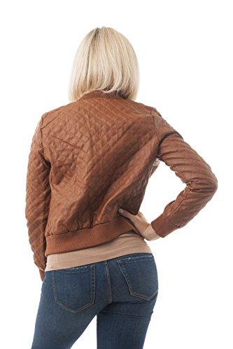 piel acolchada sintética laterales de bolsillos Camel Dark Chaqueta con Khanomak AnqEII