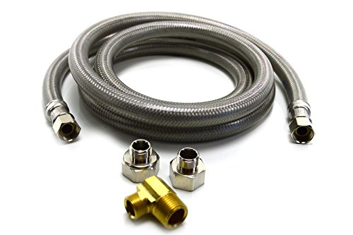 Dishwasher Connector Water Line 6 Foot Long 3/8'' Stainless Steel Braided Hose by Dishwasher Connector Kit