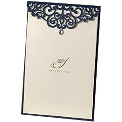 "50X WISHMADE 9"" x 7""Elegant Navy Blue Wedding Invites Blank Printable Invitation Sleeve Menu Programme List for Anniversay Rehearsal Dinner Birthday Party with Rhinestone CM502"