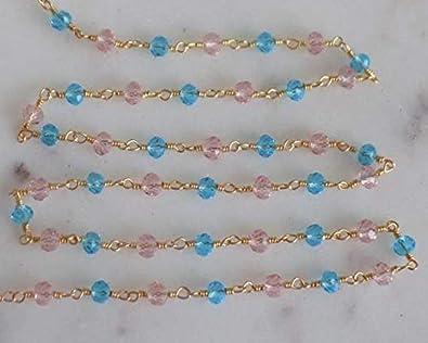 LKBEADS 38272 - Cadena de cuentas con cuentas de cuarzo con topacio azul Roze de 1,5 m, cadena chapada en oro de 24 quilates, rosario facetado con cuentas de 3 a 4 mm, código HIGH-38272