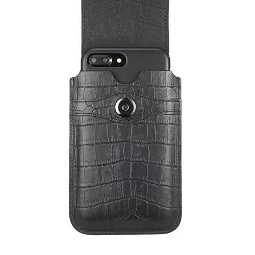 Blacksmith-Labs Barrett Mezzano 2017 Premium Genuine Leather Swivel Belt Clip Holster for Apple iPhone 7 Plus for use with Apple Leather Case - Black Croc Embossed Cowhide/Gold Belt Clip by Blacksmith-Labs (Image #4)