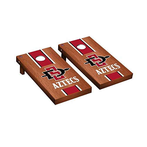 Victory Tailgate Regulation Collegiate NCAA Rosewood Stained Stripe Series Cornhole Board Set - 2 Boards, 8 Bags - San Diego State University SDSU Aztecs