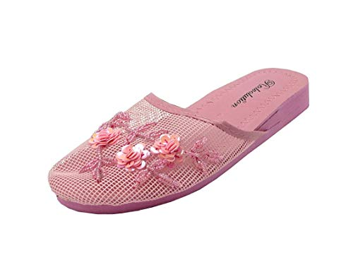 REDVOLUTION Women's Chinese Mesh Flip Fop Sandals Slipper (7, Pink) ()