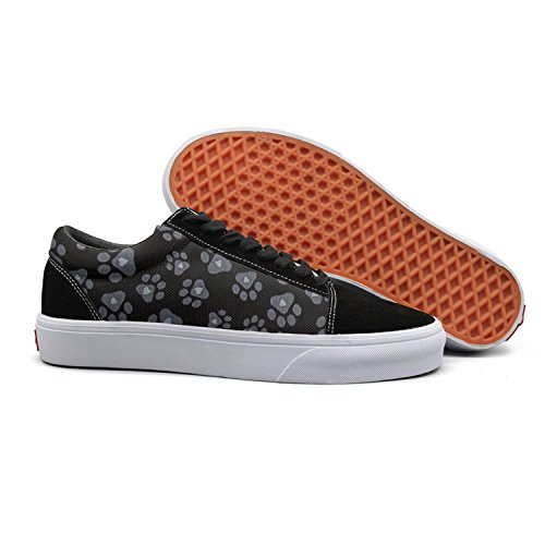 Price comparison product image SERHJOI Keppel Teerd Women's Black Dog Paw Casual Flat Canvas Shoes Low-top Lace-up Sneakers
