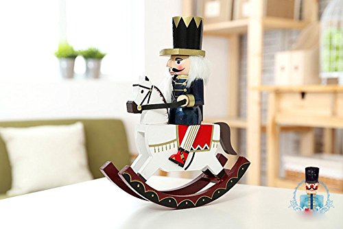 gelvs 30cm Vintage Painted Wooden Rocking Horse Soldier Christmas Festival Nutcracker Figurine in Blue Outfit