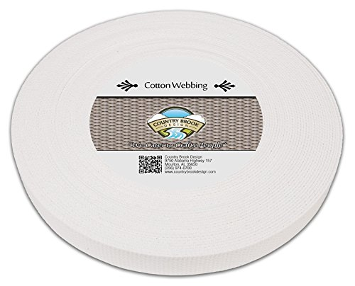 Country Brook Design | White Heavy Cotton Webbing with 17 Vibrant Color Options (1 Inch, 50 Yards)