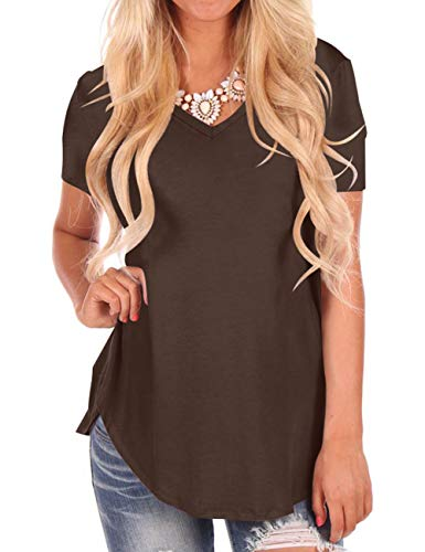 Women's Casual V Neck Loose Fit Short Sleeve T-Shirt Blouse Tops Coffee ()