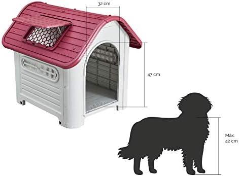 Gardiun KZT1006 Dakota Niche pour chien en résine Beige/rouge 87 x 72 x 75 cm