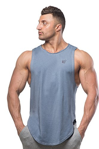Muscle Cut Stringer Workout T-shirt Muscle Tee Bodybuilding Tank Top,Blue,Large