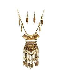 Gold/Silver Tone Long Leaf Tassel Pendant Collar Chain Necklace Jewel set retro