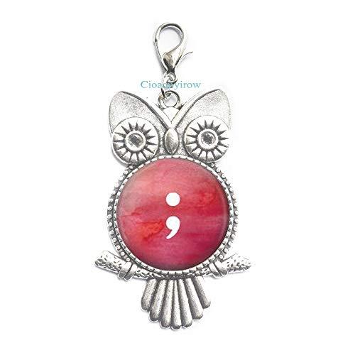 - Cioaqpyirow Semicolon Owl Zipper Pull-Semicolon Jewelry-Peralized Owl Zipper Pull-Hope Owl Zipper Pull-Awareness Jewelry-Semicolon Gift-Quote Jewelry,HO0E35